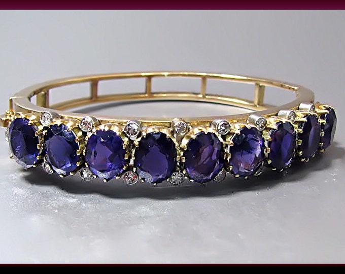 Vintage 14K Yellow Gold, Amethyst and Diamond Bangle Bracelet - BR 103M