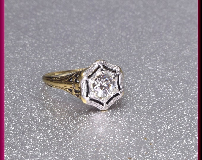 Art Deco Engagement Ring, 1920s Engagement Ring, Antique Engagement, Conflict Free, Alternative Ring, Art Deco Ring, Filigree Ring