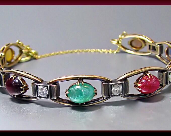 Vintage Retro 14K Yellow Gold Multi-Stone and Diamond Bracelet - BR 326M