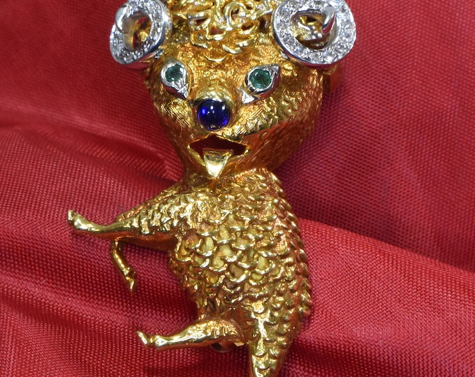 Aries Brooch, Yellow Gold and Diamond Ram Brooch, Aries Diamond Pin