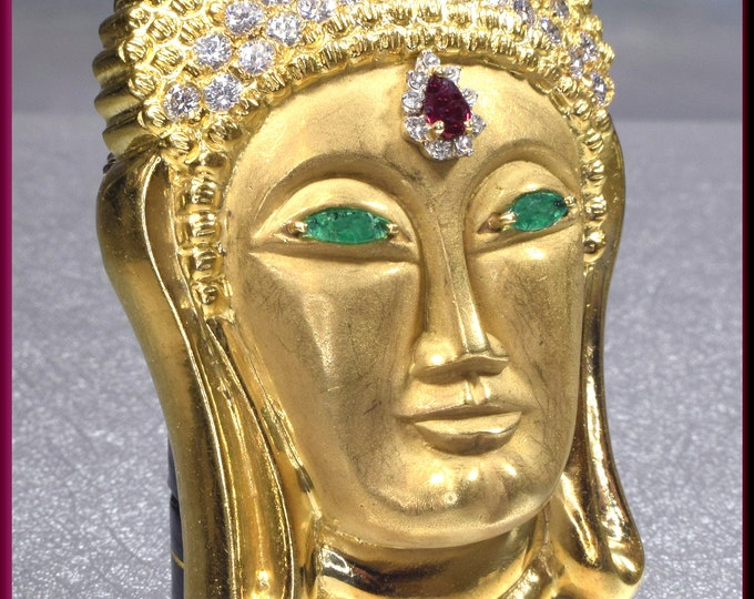 Gold Buddha Brooch, Diamond Buddha Pin, Diamond Buddha Brooch, Gold Buddha Brooch, Ruby Brooch, Diamond Brooch