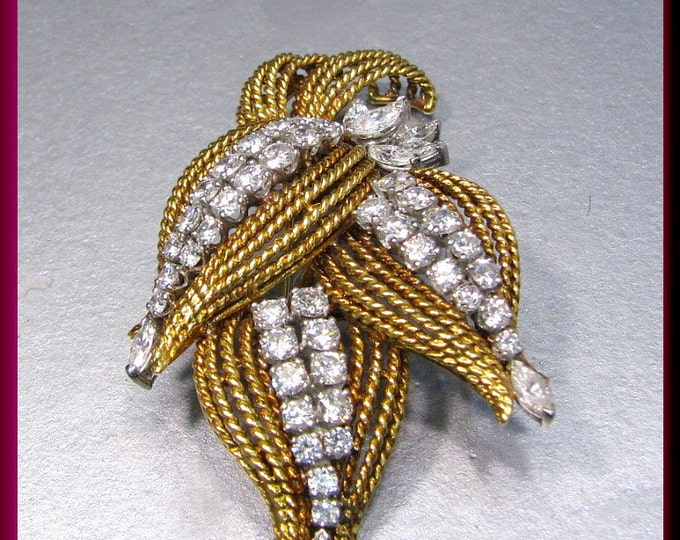 Vintage 1950's 18k Yellow Gold and Platinum Marquis and Round Diamond Spray Pin Floral Motif Brooch