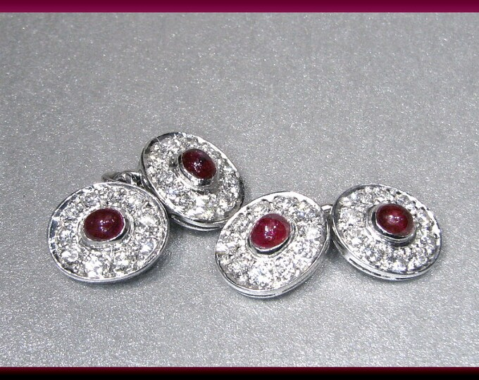 Vintage Platinum Diamond and Ruby Double Sided Men's Cufflinks