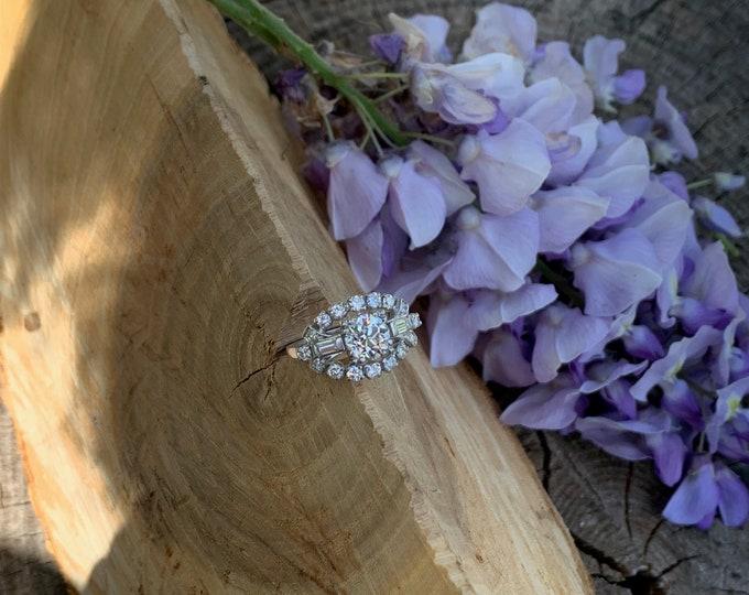 Retro 1940s Platinum Diamond Engagement Ring