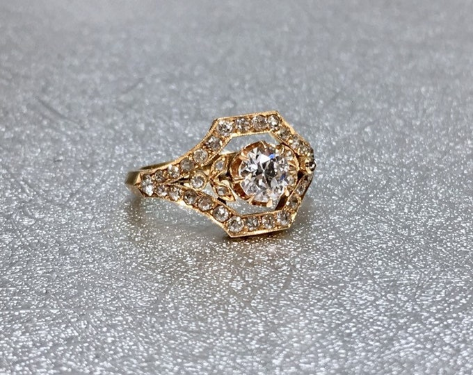 Turn of the Century Engagement Ring Alternative Engagement Ring Gold Filigree Ring Antique Engagement Ring Minimalist Ring Yellow Gold Ring