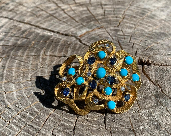 18k Yellow Turquoise Brooch, Gold and Sapphire Brooch, Turquoise Brooch, Sapphire Brooch, Diamond Brooch, Brooch Bouquet, Bridal Brooch