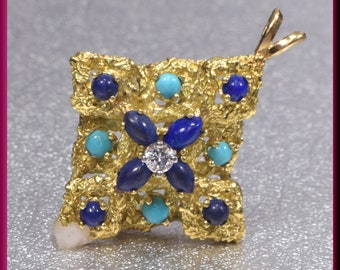 18k Yellow Gold Pendant, Gold and Lapis Pendant, Turquoise Pendant, Lapis Pendant, Diamond Pendant, Brooch Bouquet, Bridal Brooch