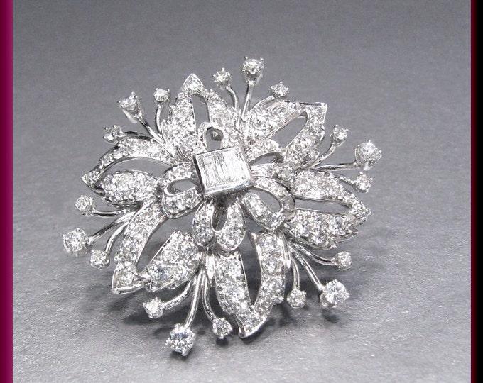 Antique Vintage Retro 1940's Platinum Diamond Spray Floral Pin Brooch
