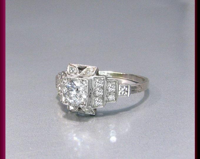 Vintage Diamond Engagement Ring Art Deco Diamond Engagement Ring with Old European Cut Diamond Platinum Wedding Ring - ER 610M