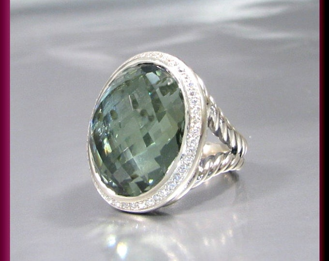 Vintage David Yurman Signature Collection Sterling Silver Oval Faceted Green Orchid and Diamond Cocktail Ring Statement Ring - DY  35