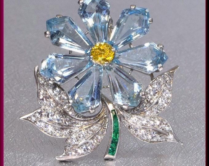 Art Deco Brooch, Platinum Flower Brooch, Aquamarine Brooch, Diamond Brooch,Flower Brooch, Art Deco Flower Pin, Bridal Brooch, Brooch Bouquet