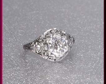 Art Deco Engagement Ring, 1930s Engagement Ring, Antique Engagement, Deco Engagement,  Alternative Ring, Art Deco Ring, Filigree Engagement,