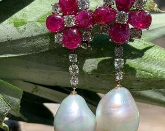 Vintage Diamond and Cabochon Ruby Earring, Ruby Chandelier Earring, South Sea Pearl Earring, South Sea Pearl Earring, Diamond Drop Earrings