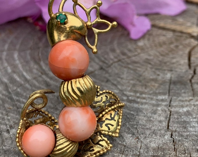 Gold and Coral Snail Brooch, Coral Snail Brooch, Coral Brooch, Snail Brooch