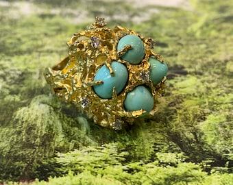 Turquoise Ring,  Turquoise Diamond Ring, December Birthstone, Turquoise Statement Ring