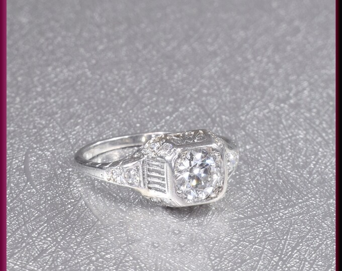 Art Deco Diamond Engagement Ring Antique Diamond Engagement Ring with Old European Cut Diamond Platinum Wedding Ring - ER 639M