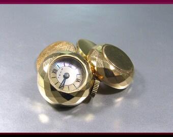 Antique Vintage Retro 14K Yellow Gold Mauboussin Unqiue Watch Men's Cufflinks - M 203S