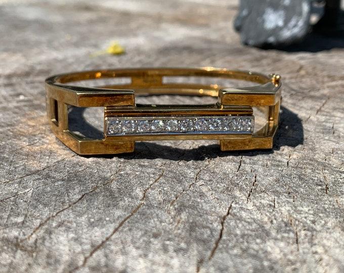 Vintage Gold Bangle, Wide Gold Bangle, Wide Diamond Bangle, Gold Diamond Bangle, 18K Yellow Gold Bangle, Diamond Bangle,  Diamond Bracelet