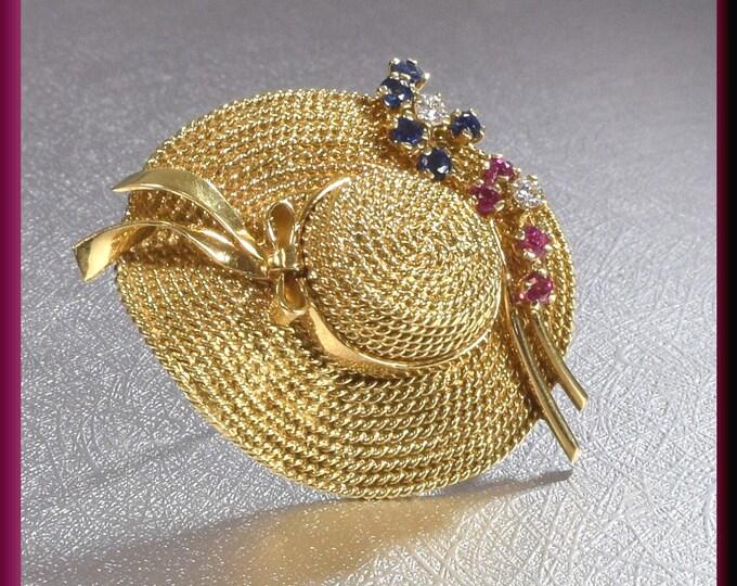 Hat Brooch Brooch Bouquet Bridal Bouquet gift for her Flower Brooch Diamond Brooch  Gold Brooch Vintage Brooch Vintage Pin Lapel Pin