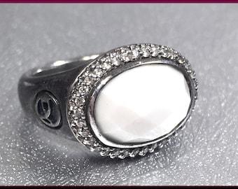 David Yurman Albion Diamond Cocktail Ring White Agate Yurman Silver Ring  Gift for Her