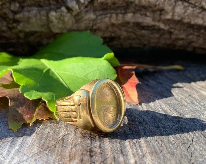 Barry Kieselstein Cord Sun Moon Intaglio Yellow Gold Ring, Gold signet Ring, Intaglio Ring