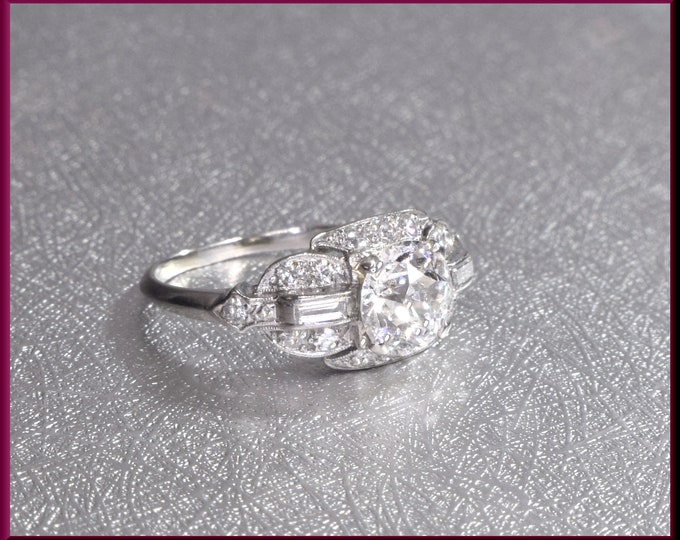 Art Deco Engagement Ring Antique Engagement Ring Art Deco Ring Vintage Ring Statement Ring Alternative Ring  Platinum Ring Dainty For Her