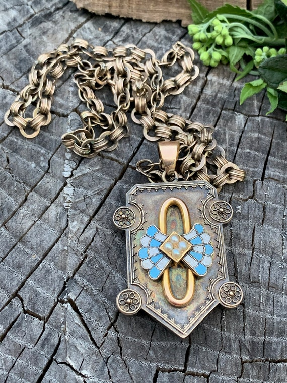 Victorian Locket, Victorian Locket Gold, Enamel Lo