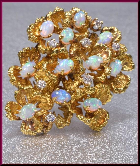 Vintage Opal Brooch,Vintage Gold and Opal Brooch,