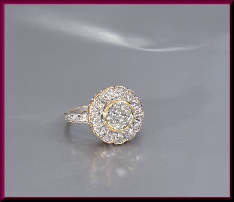 5e943415f7362 Antique Diamond Engagement Ring Victorian Engagement Ring Victorian Ring  Alternative Ring Cluster Ring Flower Ring Vintage Ring Yellow Gold
