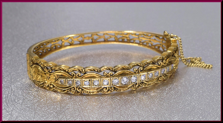 52b7e471ca8 Antique Diamond Bangle Vintage Diamond Bangle Gold Diamond