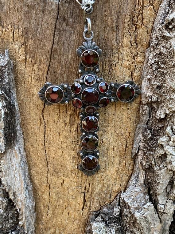 Victorian Garnet Cross, Silver Garnet Cross, Garne