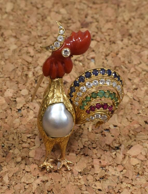 Gold Bird Brooch, Gold Rooster Brooch, Rooster Bro