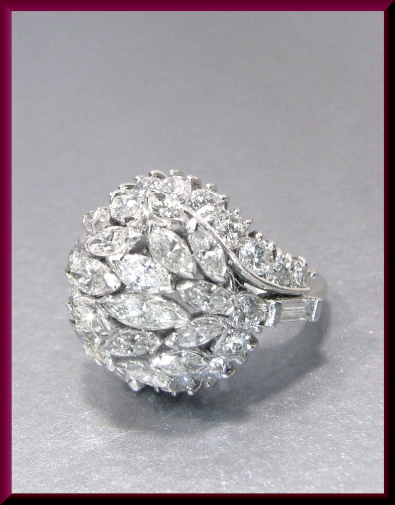 d334bc544b83e Diamond Cluster Cocktail Ring Vintage Cocktail Ring Platinum 1950's Marquis  and Round Diamond Ring Statement Ring - R 137S