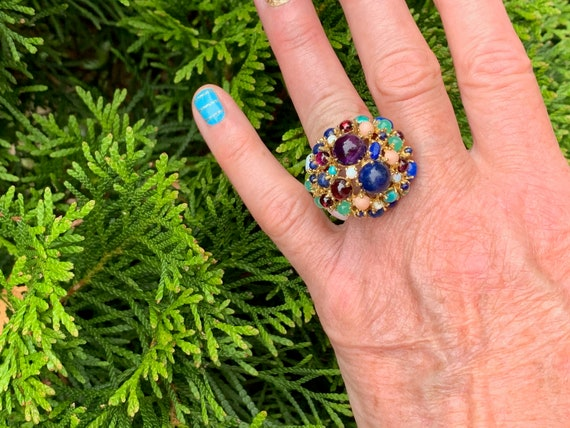 Tutti Frutti Ring, Mutli Gem Cocktail Ring, Ameth… - image 9