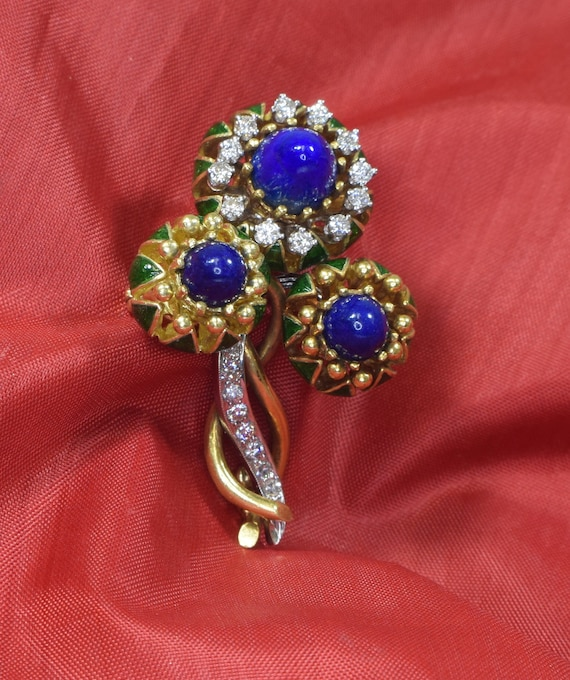 18k Yellow Gold Brooch, Gold and Lapis Brooch, Ena