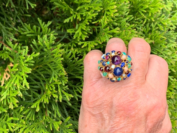 Tutti Frutti Ring, Mutli Gem Cocktail Ring, Ameth… - image 10