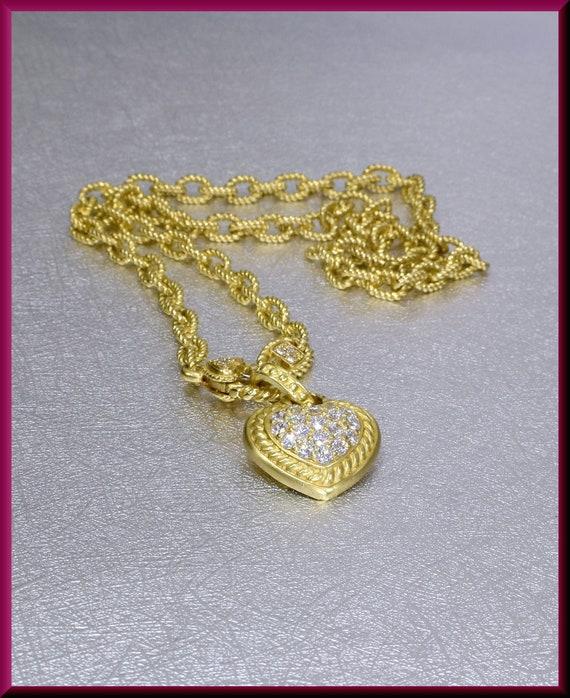 Gold Heart Necklace, Judith Ripka Heart Pendant, D