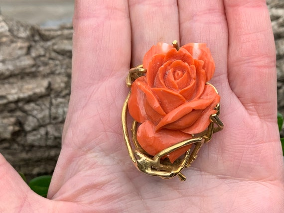 Coral Rosebud Pin, Gold Coral Rose, Craved Coral … - image 7