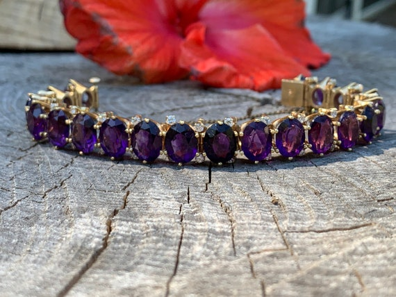 Amethyst Bracelet, Amethyst Bangle, Amethyst and D