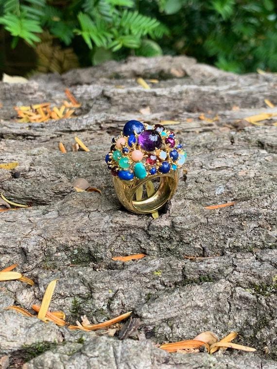Tutti Frutti Ring, Mutli Gem Cocktail Ring, Ameth… - image 7