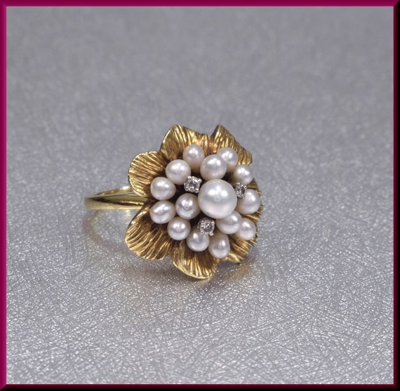 Pearl Cluster Ring, Diamond and Pearl Ring, Flower