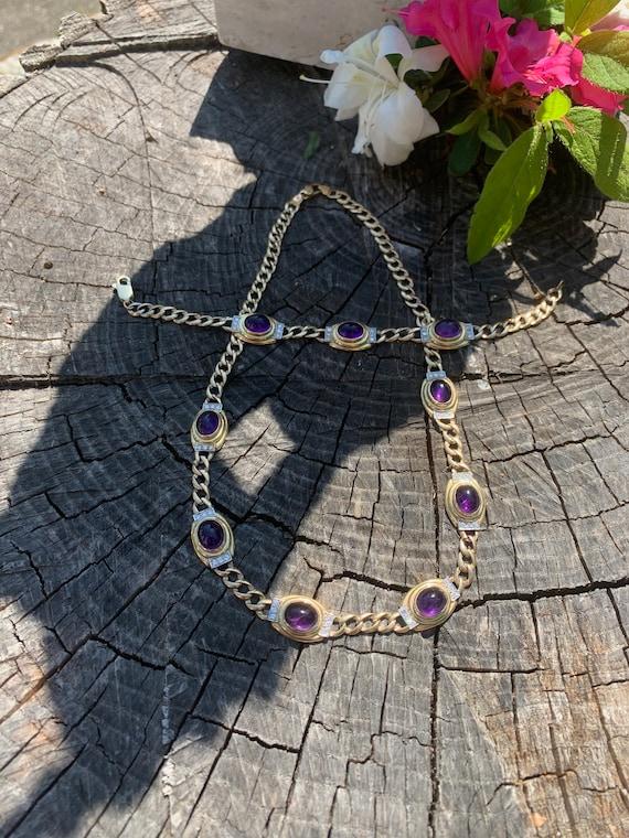 Amethyst Necklace, Diamond Amethyst Choker, Amethy