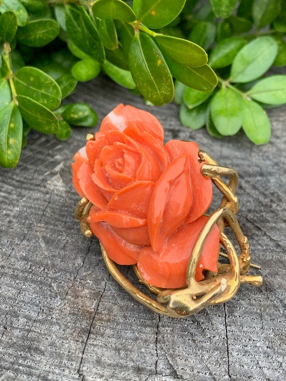 Coral Rosebud Pin, Gold Coral Rose, Craved Coral … - image 4