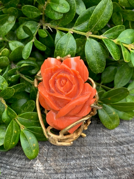 Coral Rosebud Pin, Gold Coral Rose, Craved Coral … - image 1