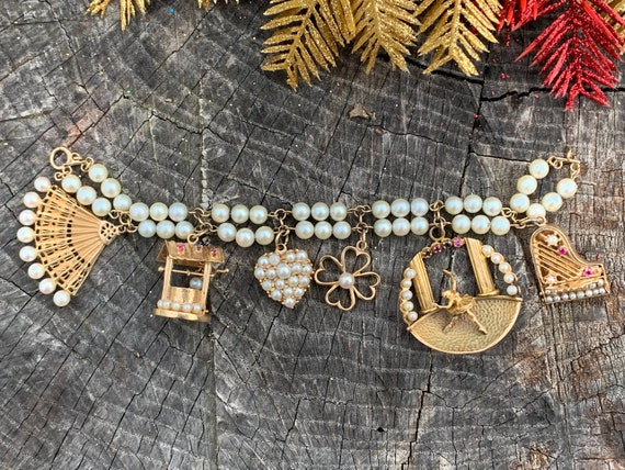 Pearl Charm Bracelet, Piano Charm, Heart Charm, Pe