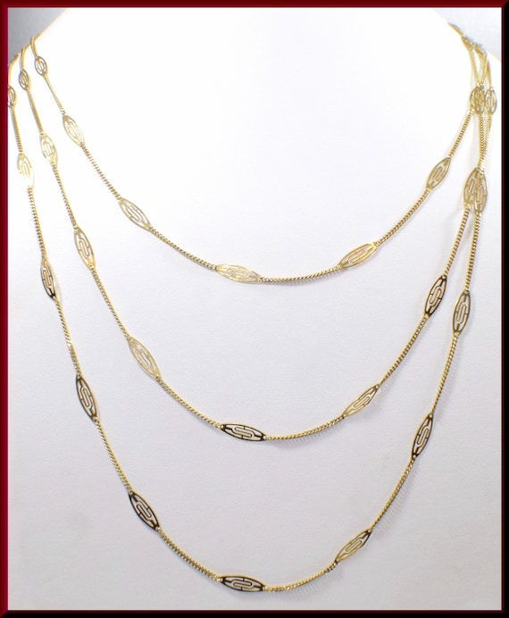 Antique Gold Chain Necklace,  Victorian Gold Chain