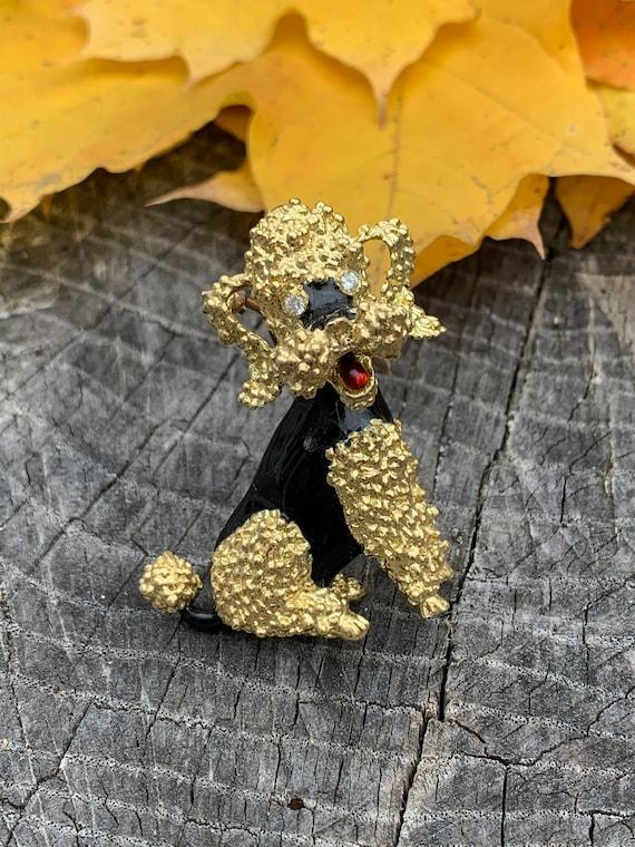 Gold Poodle Brooch, Vintage Poodle Brooch, Gold Po