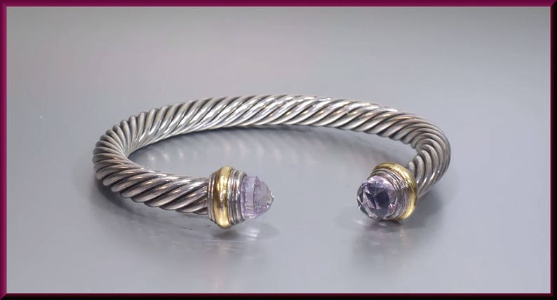 9ca78048a5218f David Yurman Vintage Cable Collection Sterling Silver Yellow   Etsy