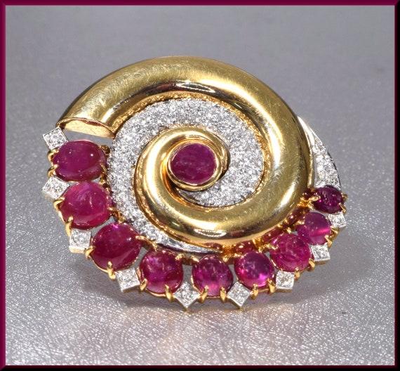 Art Deco Ruby Brooch, Art Deco Gold Brooch, Floral