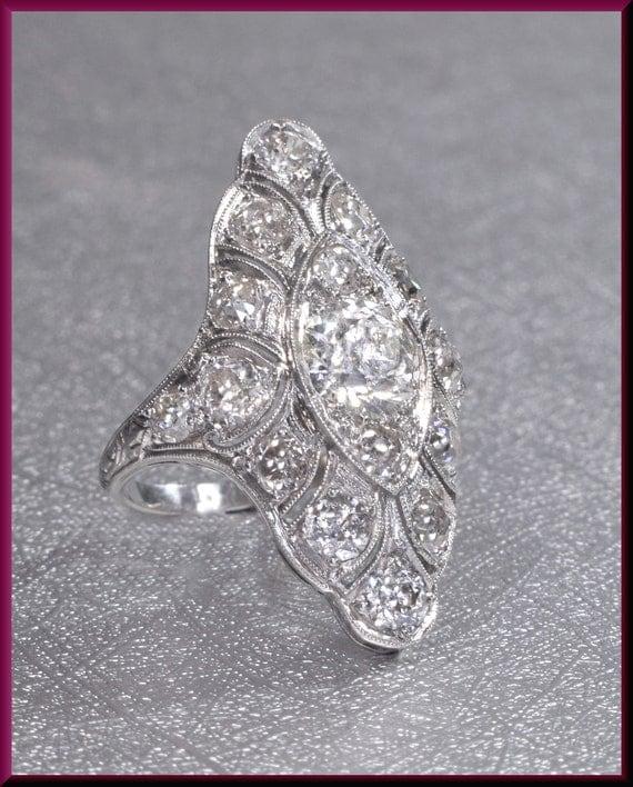 Diamond Cocktail Ring Deco Diamond Ring Diamond St